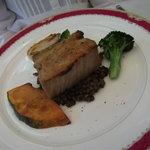 7864745 - 肉料理/千葉県産芋豚バラ肉のパン粉焼き、レンズ豆の煮込み