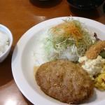 お多福食堂 - 照り焼きハンバーグとエビフライとかぼちゃのポテトサラダ   1300円