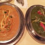シャンカル - チキンカレー& サグパニール(ほうれん草とチーズのカレー)