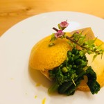 78655833 - あん肝・菜の花・柑橘で酢