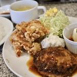四ツ橋カフェ - ハンバーグ&唐揚げセット1080円