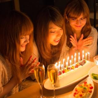 誕生日特典、先着5組!メッセージ入り豪華ホールケーキ無料