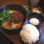 汁なし担々麺 階杉 - 汁なし担々麺(麺2玉、ごはんセット)