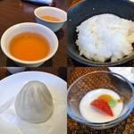中国料理 桂花 - お茶  ライス  ミニ肉まん  杏仁豆腐