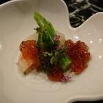魚貝三昧 げん屋 - 先付け       エビと菜の花の三杯酢ジュレがけ