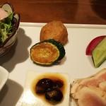 78688495 - 里芋とズッキーニの唐揚げと醤油豆と豆腐
