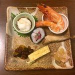 78694166 - アカアシ海老 イカの山芋和え 鯖と柴漬けの巻き寿司 いとこ煮 カズノコ ハタハタ