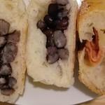 ブーランジェリー メチエ - 「グリエール&サラミ」と「豆パン」の断面
