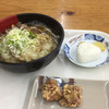 Kicchou - 料理写真:肉牛蒡天うどん、唐揚げ、おにぎり
