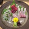三代目 まる天 - 料理写真:刺身 三種盛り + 一種(アップ)