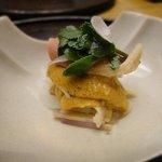 7871633 - 北海道の生ウニとホッキ貝、生ウド、甘酢がけ