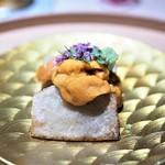 お料理 志ぶう - 海老芋の唐揚げ 雲丹掛け