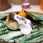 お料理 志ぶう - 鰆の焼物 白子ソース掛け 金柑蜜煮