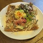 garettokafemoga - 生ハムと玉子 自家製ポテサラが乗ったサラダガレット からふとししゃもの玉子を添えて1