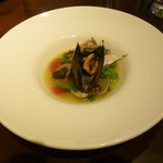 78721643 - 前菜(真鯛とムール貝の白ワイン蒸し)