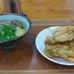 78722107 - かけそば、天ぷら(太刀魚、高野豆腐、こんにゃく)