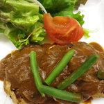 八笑 - けんこう料理部門、一番人気!デミグラ味噌の豆腐ハンバーグです。