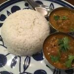 ハバチャル - 料理写真:ブリカレー、ラム肉とキンカン、ライス