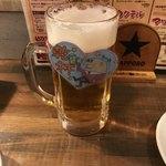 太田川ホルモン - サッポロ樽生ビール大¥680