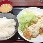 肉屋食堂 たけうち - チキン南蛮 手造りタルタルソース(ライス大盛り)
