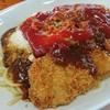 レストランえぼし - 料理写真:カツスパ、粉チーズとケチャップをオン