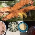 とんかつ豚料理 ぽるしぇ - ジャンボ海老フライ定食3580円