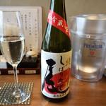 天ぷらと泡 ぱちぱち - 三千盛り(純米大吟しぼりたて)・奥のセルフ水は和らぎ水として頂きました