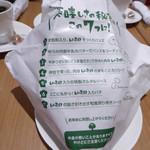 THIS 伊豆 SHIITAKE バーガーキッチン - しいたけバーガーの魅力が書いてある包み紙