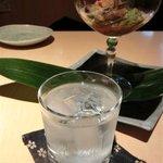 川辺 - 焼酎「蘭」と「たたきわらびのおろし和え」