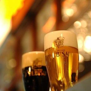ヱビスビールが最大5種類飲み放題!様々な味わいをお楽しみ♪