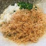 晨翁蕎麦 - 辛味大根おろしぶっかけ 糸がきとネギとおろしの三色で彩り