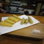 庵蔵 立ち喰い蕎麦バル - 生姜天、茗荷天