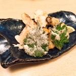 喜久寿司 - 白身魚海老かき揚げ