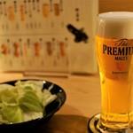 博多焼き ヤマト - 生ビール、お通しキャベツ