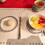 ホテルオークラ レストラン横浜 中国料理 桃源 - ココナッツ団子 フルーツ入り杏仁豆腐