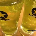 一軒め酒場 - 喉が渇いていたので、いきなり緑茶割り2杯頼んでみた。