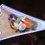 国登録文化財 二木屋 - 寿物 蛇腹胡瓜、白菜、蟹、若芽、ラディッシュ、ゼリー酢