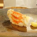 鮨 そえ島 - ◆車海老・・いつもながら独特の握り方。車海老らしい甘味を感じ美味しいこと。
