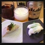 かっぱ寿司 - ビール&寒ぶりはらみ炙り&寒ひらめ&