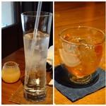 茅乃舎 - ◆運転する主人は「ジンジャーエール」・・生姜が別添えですので、好みに調整できます。 私は「梅酒」をロックで。