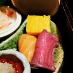 割烹 まつ喜 - サーモン、鹿肉のロースト、玉子焼き