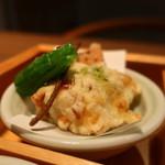 豆まる - 湯葉しゅーまい天ぷら しし唐、ひじき素麺 抹茶塩