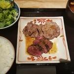 78879988 - 休日ランチ:牛タン&さがりステーキ御膳(1800円)