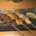 地鶏の鶏膳 - ハツ110円ボンジリ160円地鶏180円