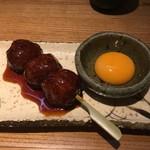 地鶏の鶏膳 - つくねの串焼き350円