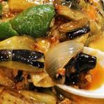 光陽楼 - 茄子の辛子炒め定食on生卵