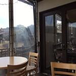 カフェ イ・ルンガ - 隙間風がちょいと寒いテラス席。気候の良い季節にまた来たい