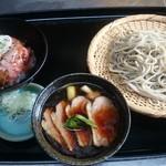 そば善 - 鴨もりそば(常陸秋そば二八)+黒毛和牛ローストビーフ丼(小)