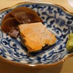 鮨 あらい - あん肝と小西瓜の奈良漬け
