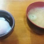豚大学 - 豚丼セット(半熟卵と味噌汁)  140円